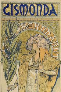 Poster: Sarah Bernhardt as Gismonda at the Theatre De La Renaissance (Upper Part), 1895 by Alphonse Mucha