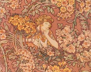 Redhead Among Flowers by Alphonse Mucha