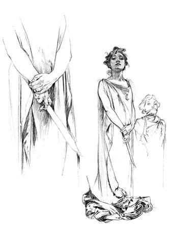 Studies in Pencil for the Medee Poster, 1899 by Alphonse Mucha