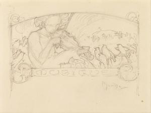 Study of a Woman Playing Violin by Alphonse Mucha