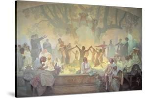 The Oath of Omladina under the Slavic Linden Tree, from the 'Slav Epic', 1926 by Alphonse Mucha