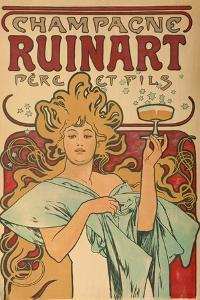"""Werbeplakat Fuer """"Champagne Ruinart"""" Paris, 1897 by Alphonse Mucha"""