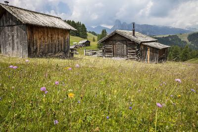 Alpine Huts at the Plateau of the Pralongia, St. Kassian, Val Badia, South Tyrol, Italy, Europe-Gerhard Wild-Photographic Print