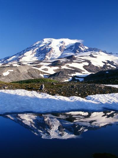 Alpine Lake Reflecting Mt. Rainier-Craig Tuttle-Photographic Print