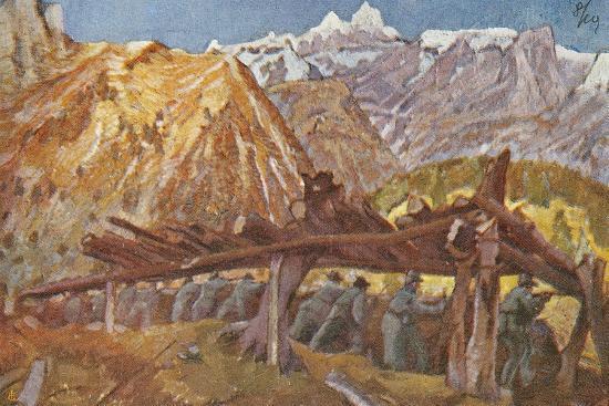 Alpini in the Trenches in Giudicarie Valleys, Italian Propaganda Postcard-Tommaso Cascella-Giclee Print