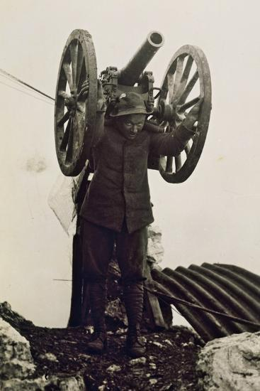 Alpino Soldier Carrying a Piece of Mountain Artillery. World War I, Italy, 20th Century--Giclee Print