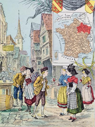 Alsace-Lorraine, Illustration for 'Le Tour De France' by Marie De Grandmaison, 1893-J. Maurel-Giclee Print