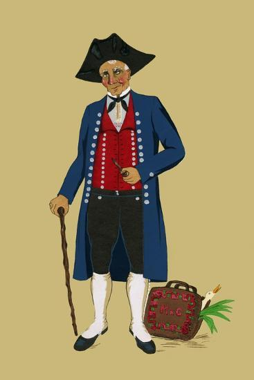 Alsacian Man from Saverne with Pipe, Tri-Cornered Hat and Wears Britches-Elizabeth Whitney Moffat-Art Print