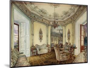 Interior view of the Salon of a Castle in Obertwaltersdorf by Alt Rudolf