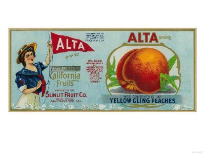 Alta Peach Label - San Francisco, CA-Lantern Press-Art Print