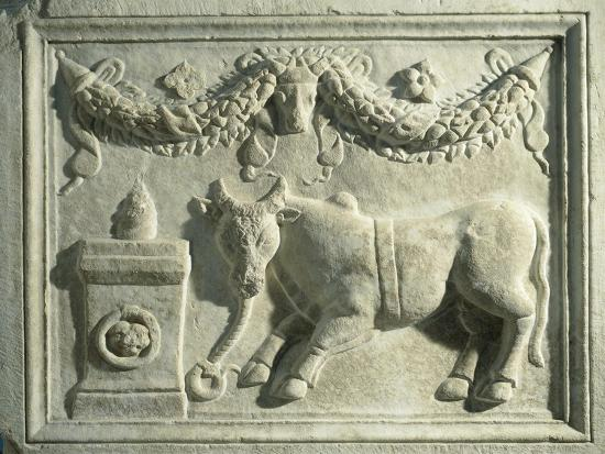 Altar with Relief Depicting Sacrifice of Bull--Giclee Print