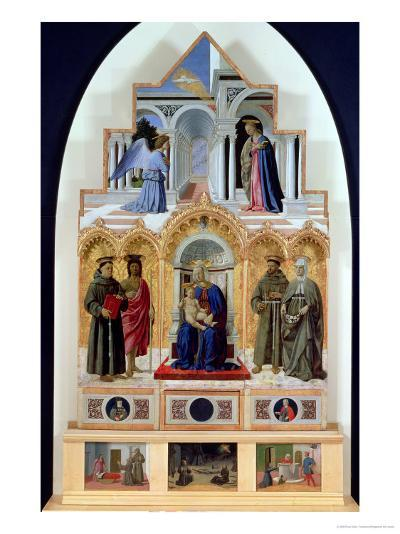 Altarpiece, Madonna and Child with Saints, Miracles of St. Anthony, St. Francis and St. Elizabeth-Piero della Francesca-Giclee Print