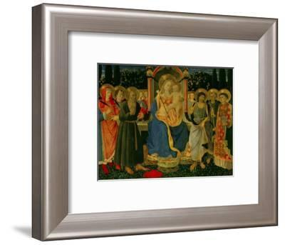 Altarpiece of Saint Jerome: Madonna and Child Enthroned with Saints-Zanobi Di Benedetto Strozzi-Framed Giclee Print