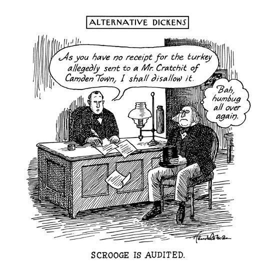 "Alternative Dickens Scrooge Is Audited. Auditor: ""As you have no receipt f? - New Yorker Cartoon-J.B. Handelsman-Premium Giclee Print"