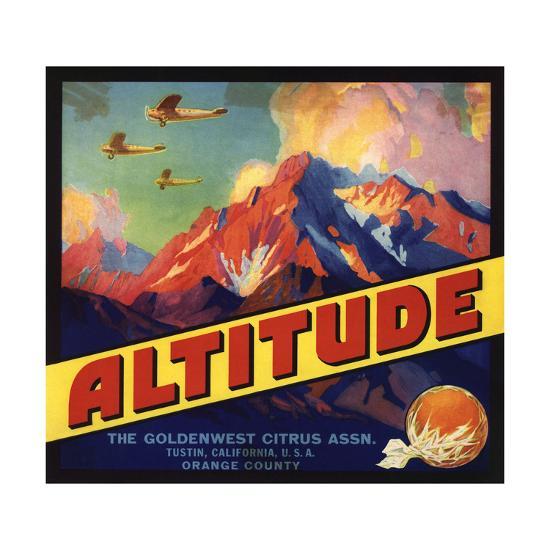 Altitude Brand - Tustin, California - Citrus Crate Label-Lantern Press-Art Print
