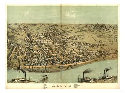 Alton, Illinois - Panoramic Map-Lantern Press-Art Print