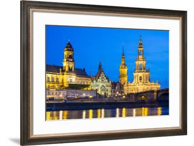 Altstadt (Old Town) skyline, historic buildings along the Elbe River at night, Dresden, Saxony, Ger-Jason Langley-Framed Photographic Print