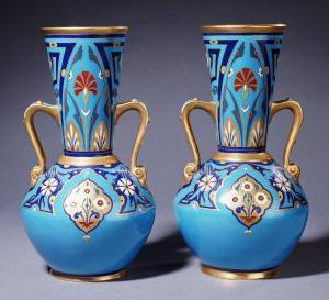 A Pair of Minton Twin-Handled Cloisonne Vases, Circa 1871 by Alvar Aalto