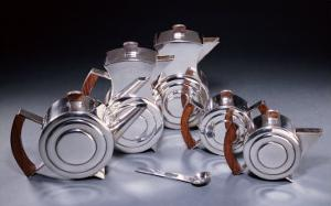 A Six Piece Silver and Rosewood Tea and Coffee Service, Circa 1934 by Alvar Aalto