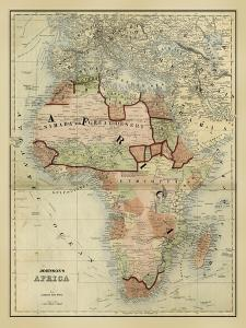 Antique Map of Africa by Alvin Johnson