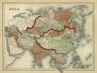 Antique Map of Asia by Alvin Johnson