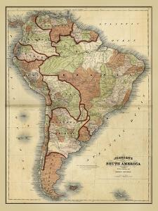 Antique Map of South America by Alvin Johnson