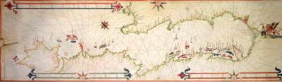 Miniature Nautical Map of the Adriatic, 1624 by Alvise Gramolin