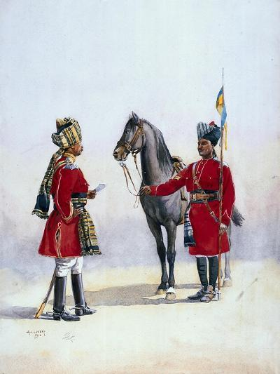 Alwar Lancers, Commandment and Chohan Rajput, Illustration for 'Armies of India' by Major G.F.…-Alfred Crowdy Lovett-Giclee Print