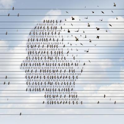 Alzheimer Disease Concept as a Medical Mental Health Care Idea as a Group of Birds on an Electrical- Lightspring-Art Print