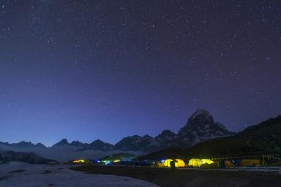 Ama Dablam Base Camp in the Everest Region Glows at Twilight, Himalayas, Nepal, Asia-Alex Treadway-Photographic Print