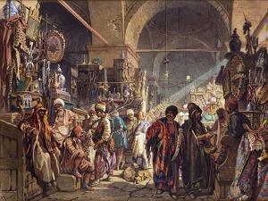 A Turkish Bazaar, 1867 by Amadeo Preziosi