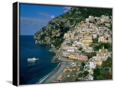 Amalfi Coast, Coastal View and Village, Positano, Campania, Italy-Steve Vidler-Framed Canvas Print