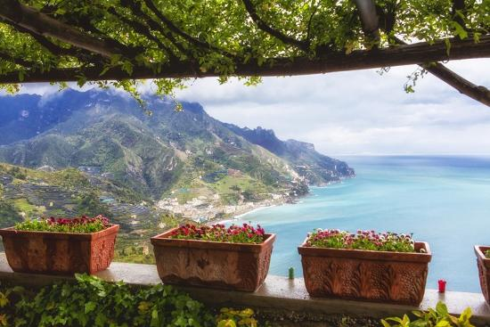 Amalfi Coast Vista from Under a Trellis-George Oze-Photographic Print