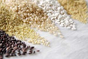 Grain Still Life: Brown Rice, Millet, Rice, Pearl Barley, Amaranth by Amana Images Inc.