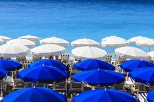 Beach Parasols, Nice, Alpes Maritimes, Provence, Cote D'Azur, French Riviera, France, Europe by Amanda Hall