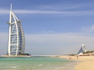 Burj Al Arab and Jumeirah Beach Hotels, Jumeirah Beach, Dubai, United Arab Emirates, Middle East by Amanda Hall