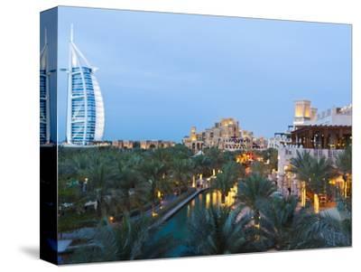 Burj Al Arab and Madinat Jumeirah Hotels at Dusk, Dubai, United Arab Emirates, Middle East