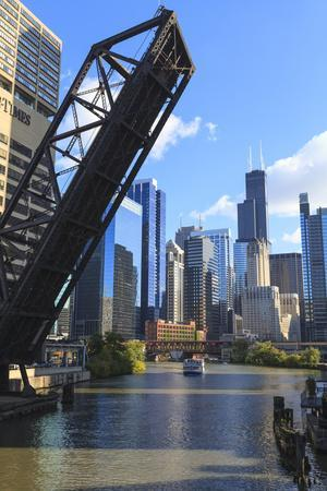 Chicago River and Downtown Towers, Willis Tower, Chicago, Illinois, USA