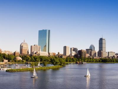 City Skyline and Charles River, Boston, Massachusetts, USA