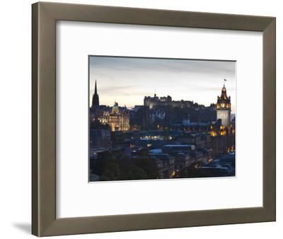 Cityscape at Dusk Looking Towards Edinburgh Castle, Edinburgh, Scotland, Uk