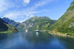 Cruiseships Moored at the Head of Geirangerfjord by the Village of Geiranger, Norway, Scandinavia by Amanda Hall