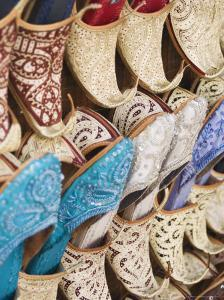 Curly Toed Slippers for Sale in Bur Dubai Souk, Dubai, United Arab Emirates, Middle East by Amanda Hall