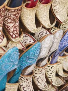 Curly Toed Slippers for Sale in Bur Dubai Souk, Dubai, United Arab Emirates, Middle East by Amanda Hall