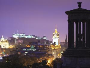 Edinburgh Cityscape at Dusk Looking Towards Edinburgh Castle, Edinburgh, Lothian, Scotland, Uk by Amanda Hall