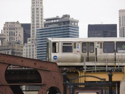 El Train on the Elevated Train System, the Loop, Chicago, Illinois, USA by Amanda Hall