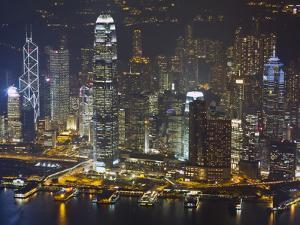 High Angle View of Central, the Main Financial District, at Night, Hong Kong Island, Hong Kong, Chi by Amanda Hall