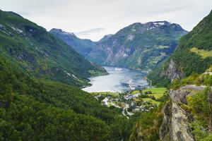 High View of Geiranger and Geirangerfjord, UNESCO World Heritage Site, Norway, Scandinavia, Europe by Amanda Hall