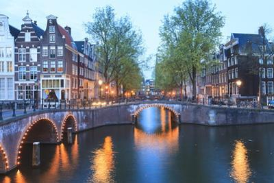 Keizersgracht and Leidsegracht Canals at Dusk, Amsterdam, Netherlands, Europe by Amanda Hall