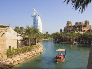 Madinat Jumeirah and Burj Al Arab Hotels, Jumeirah Beach, Dubai, United Arab Emirates, Middle East by Amanda Hall