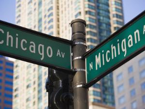 North Michigan Avenue and Chicago Avenue Signpost, the Magnificent Mile, Chicago, Illinois, USA by Amanda Hall